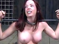 Redhead is punished hard after she disappoints her black master