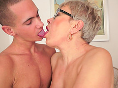 Horny granny gets that vintage pussy pounded by a younger guy