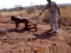 Rough Outdoor Spanking And Tormenting With Busty African