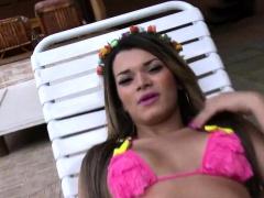 Latina tranny anal fucked at poolside