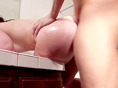 Passionate wife sucks cum out of a massive cock  before getting wrecked rough