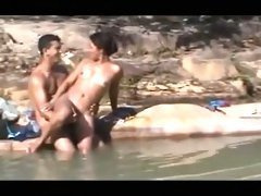 Hot outdoor scene with me and my wife making love in the water