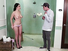 Busty Italian masseuse Valentina Nappi gets her pink pussy fucked in spoon position