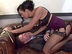Gorgeous shemale secretary Yasmine Lee punishes her sexist boss' asshole