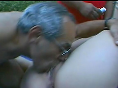 Chubby Brunette Gets Pussy Fucked And Takes Cum On Tits In MMF Threesome