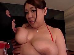 Slave guy pleasures his Japanese BBW mistress in every way