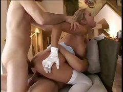 Saucy blond hoe with big fake boobs had hard double penetration