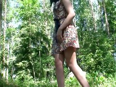 My cute and shameless girlfriend Vika is pissing in the forest