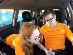 Tight redhead teen Ella Hughes drilled by driving instructor