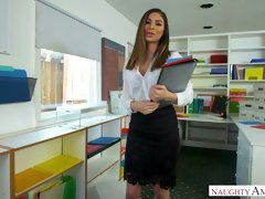 Whorish secretary Nina North is fucked by her boss right on the table