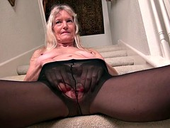 Claire granny gets naughty on stairs