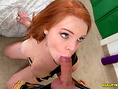 Redhead bitch with natural big tits has her shaved cunt fucked