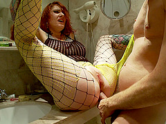 Dirty redhead whore deepthroated and fucked in a shower