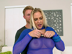 Blonde cougar with big fake tits getting her asshole licked