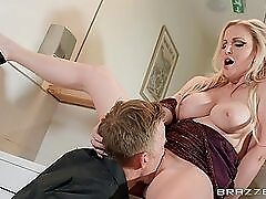 Giant uncut cock fucks her beautiful shaved pussy