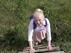 Outdoor pussy licking and missionary fuck with blonde Charlotte Shay