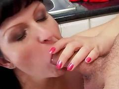 Granny gives blowjob and gets fucked in kitchen