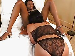 Naughty fun with black and white lesbians