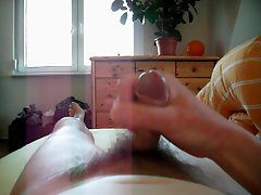 short close up jerkoff with big slow cumshot POV