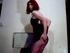Black mini dress strip and fishnets