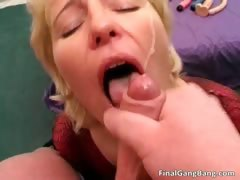 Big boobed busty chubby blonde MILF slut part1