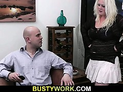 Big blonde jumps at his dick
