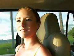 Teen flashes her big tits and pounded