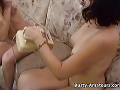 Busty Sunny and Drew jerking their pussy together